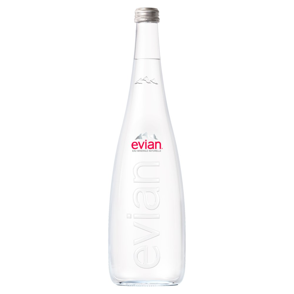 evian Still Natural Mineral Water 750ml Glass