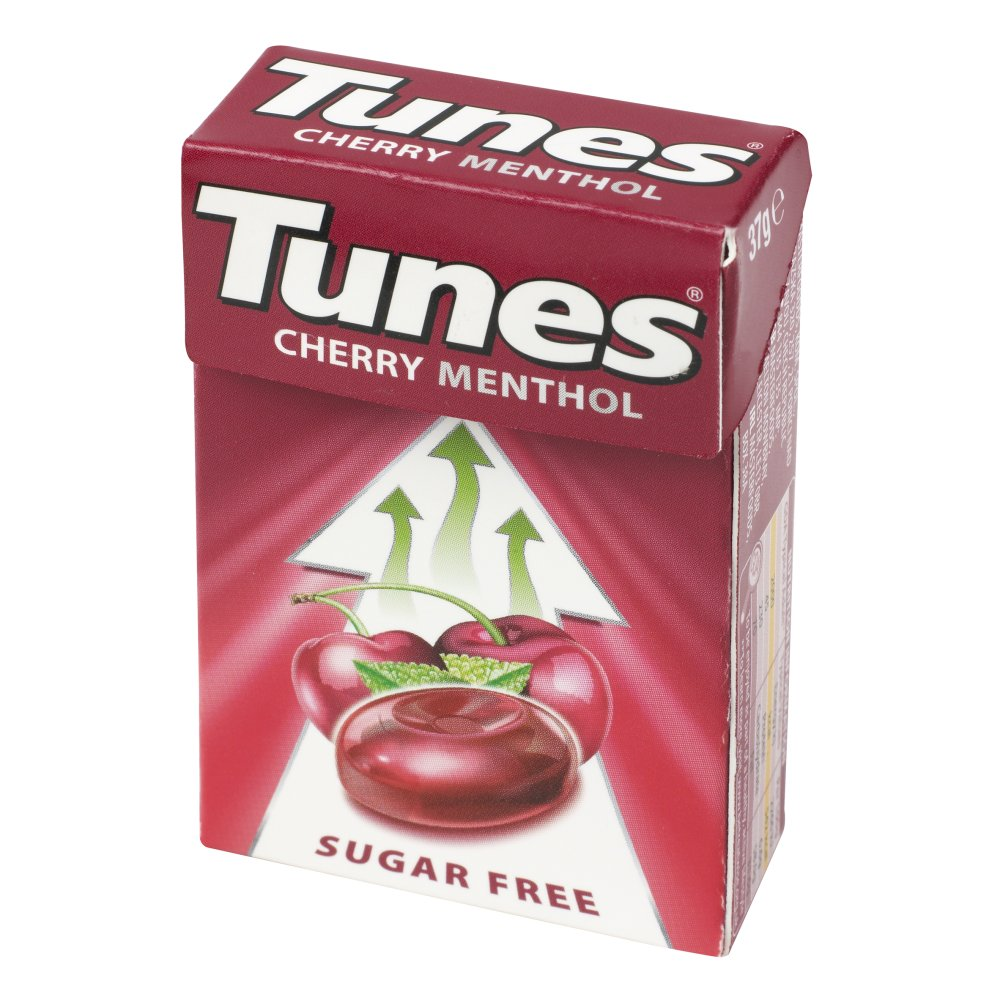 Tunes Cherry Menthol Sugar Free Cough Sweets Handy Box 37g