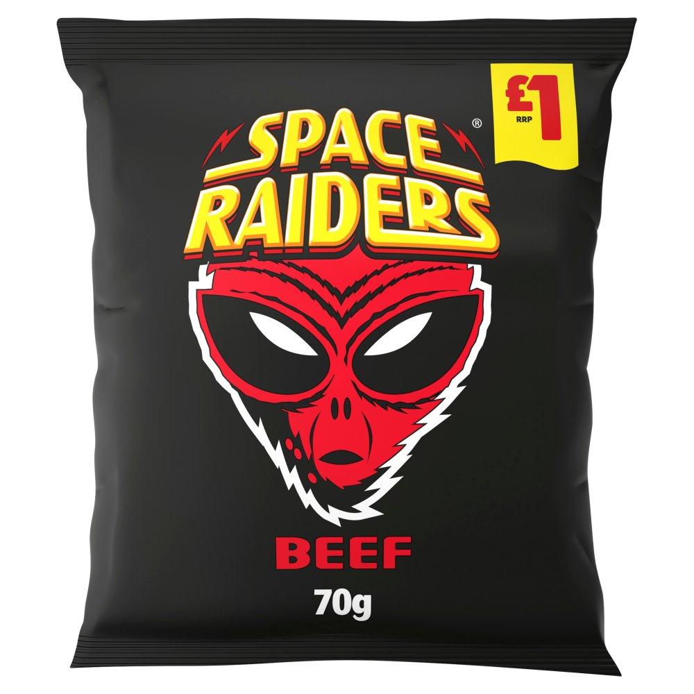 Space Raiders Beef Crisps 70g, £1 PMP