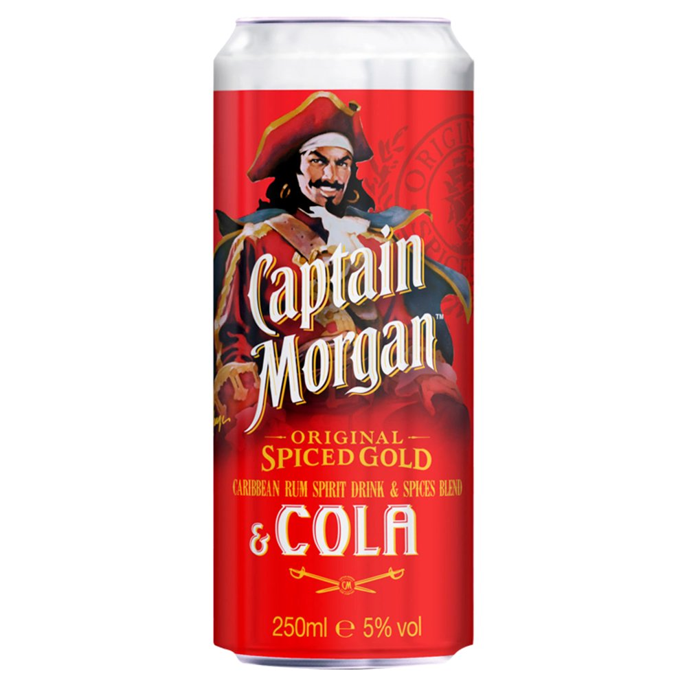 Captain Morgan Spiced Gold & Cola 250ml PMP 2/£3