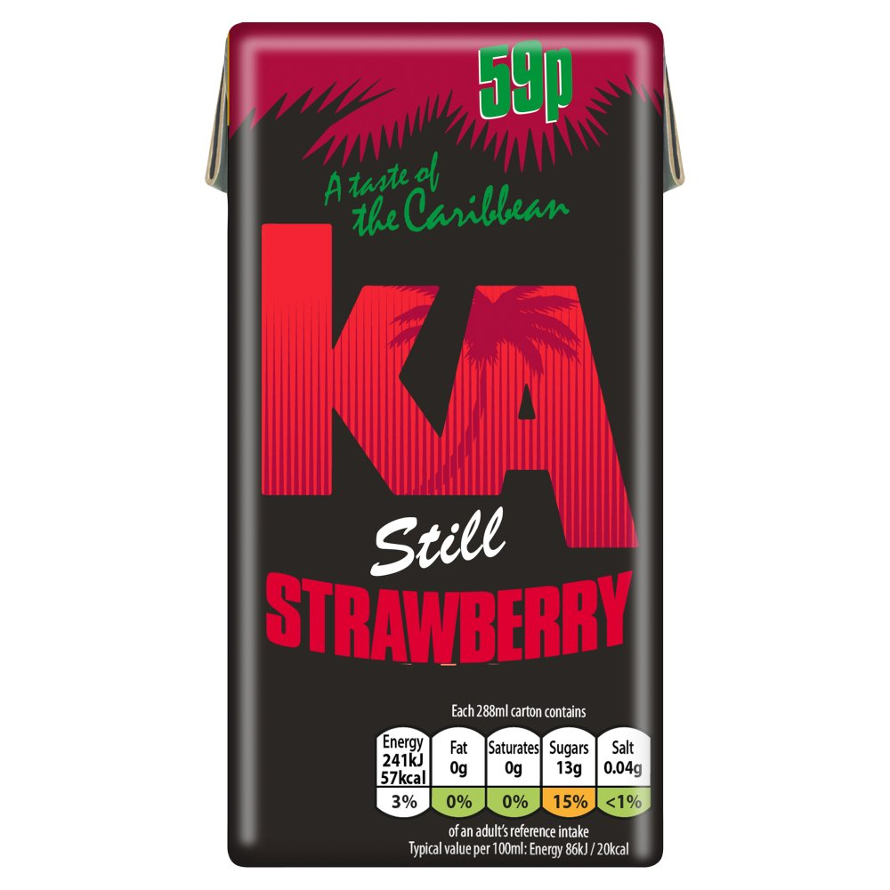 KA Still Strawberry Juice 288ml Carton, PMP 59p