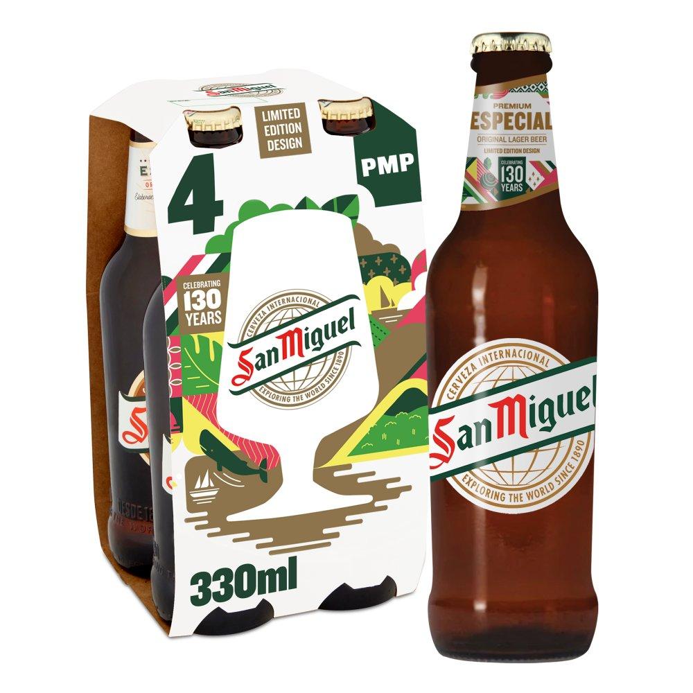 San Miguel Premium Lager Beer 4 x 330ml PMP £5.49