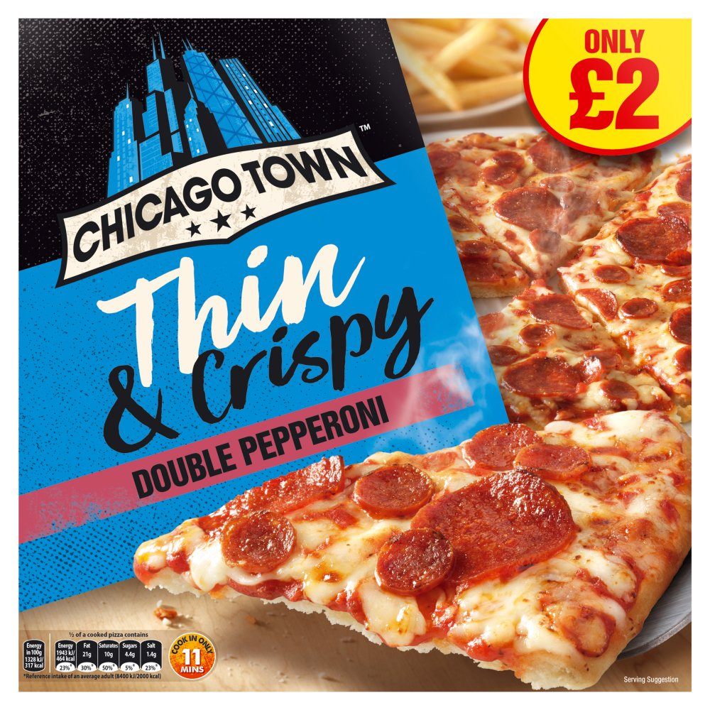 Chicago Town The Thin One Double Pepperoni Pizza 305g (PMP)