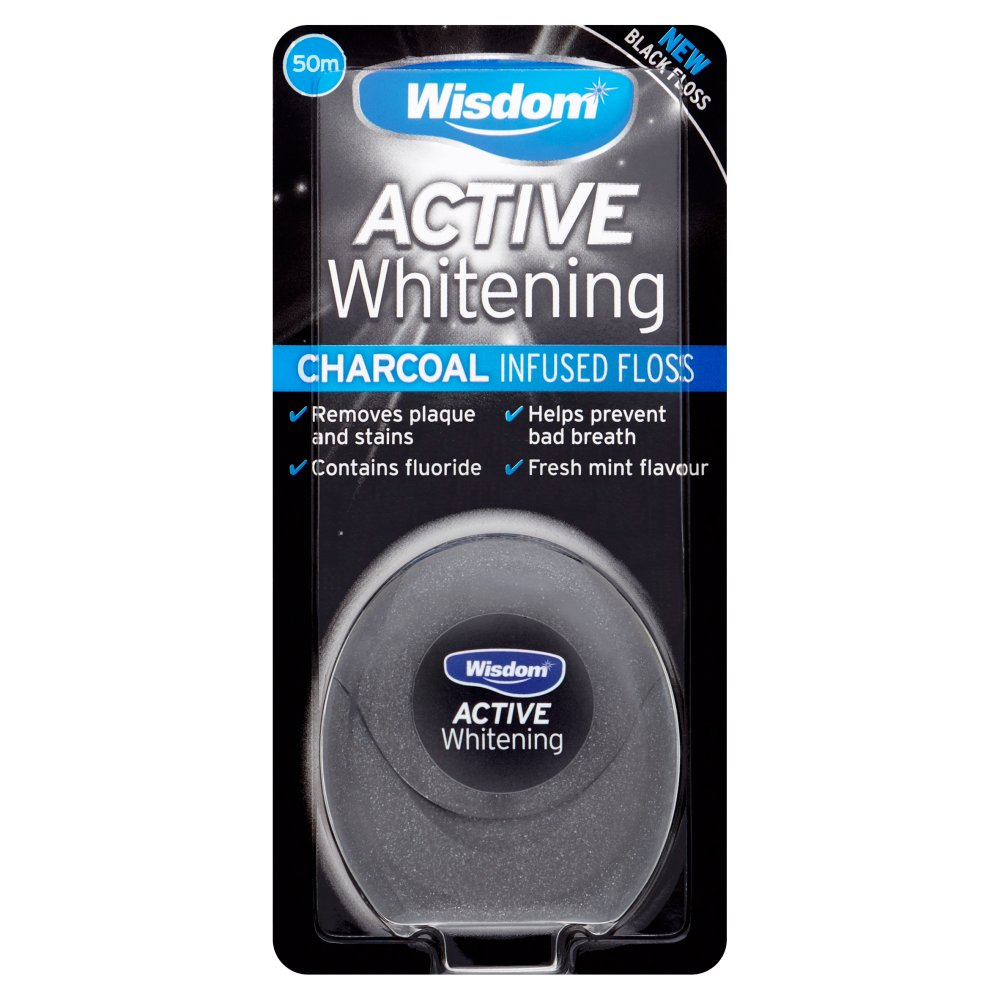 Wisdom Active Whitening Charcoal Infused Black Floss 50m