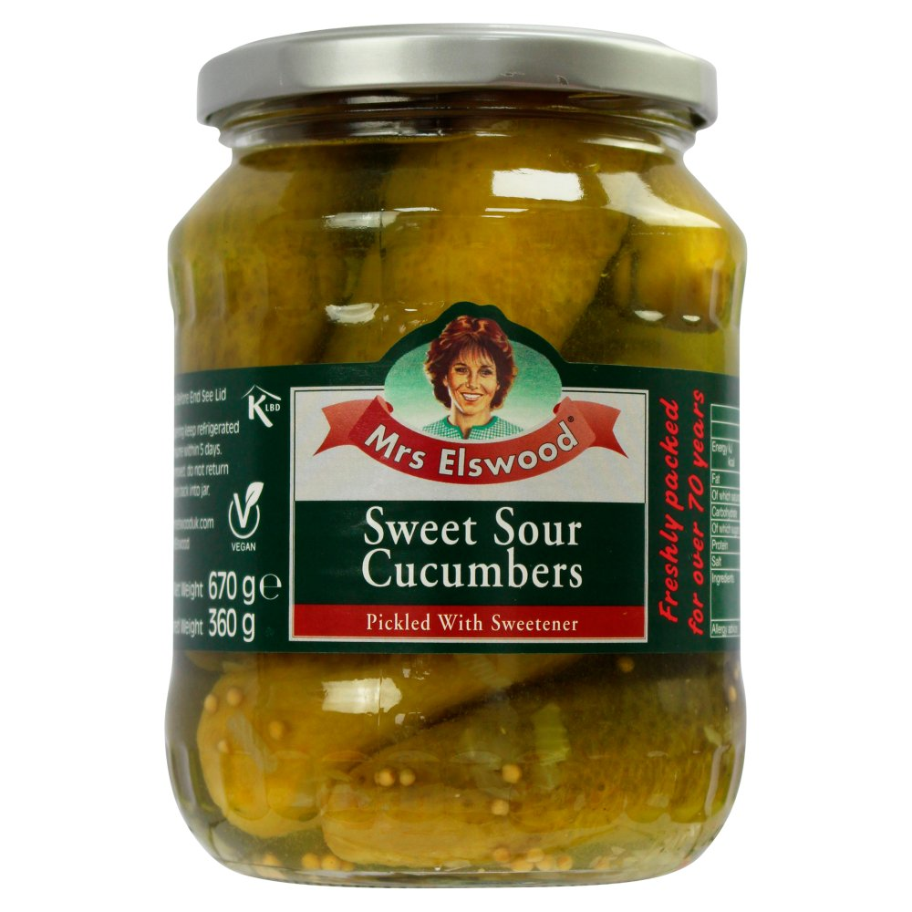 Mrs Elswood Sweet Sour Cucumbers Pickled with Sweetener 670g