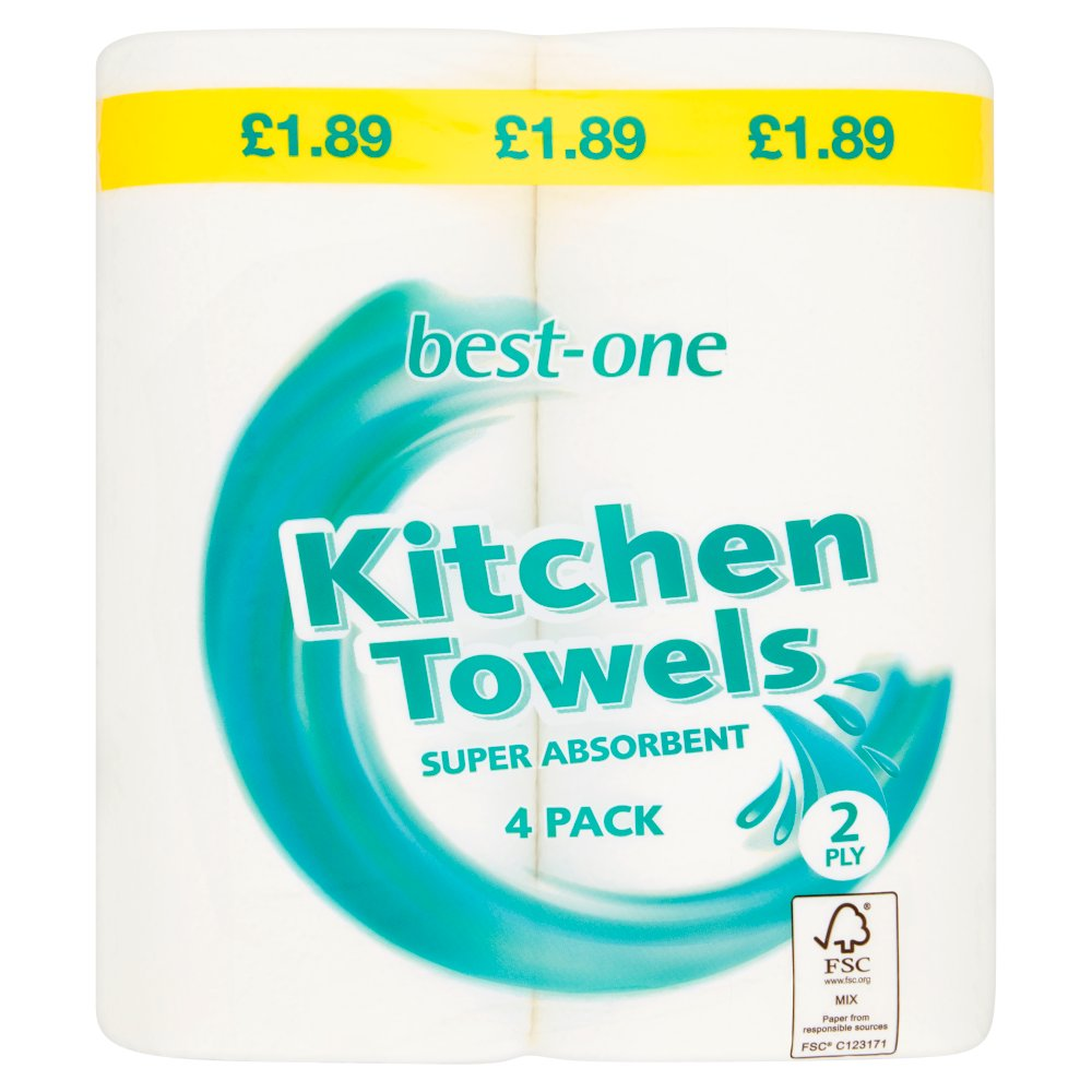 Best-One Kitchen Towels 2 Ply 4 Pack