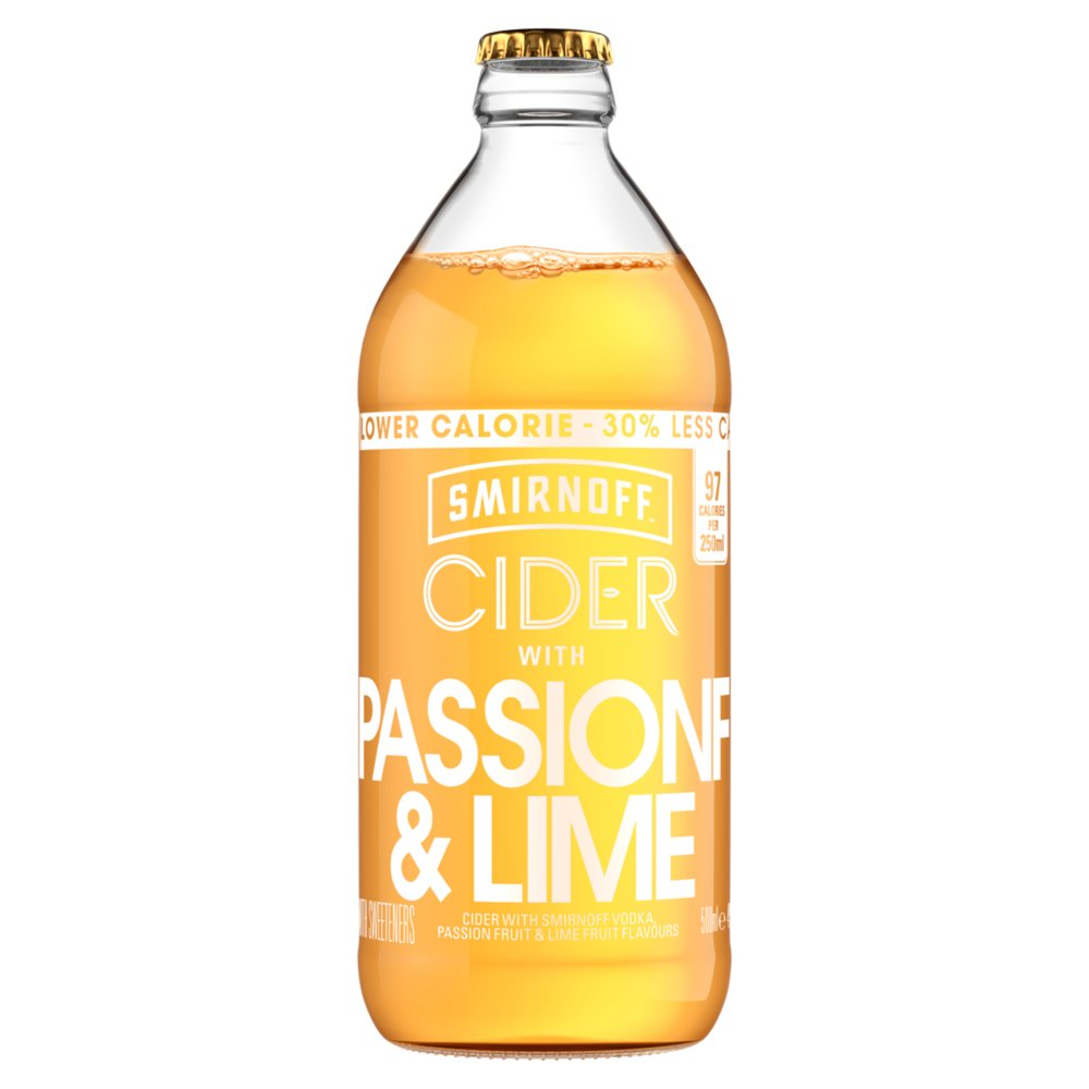 Smirnoff Cider Passionfruit and Lime 500ml - Bestway Wholesale