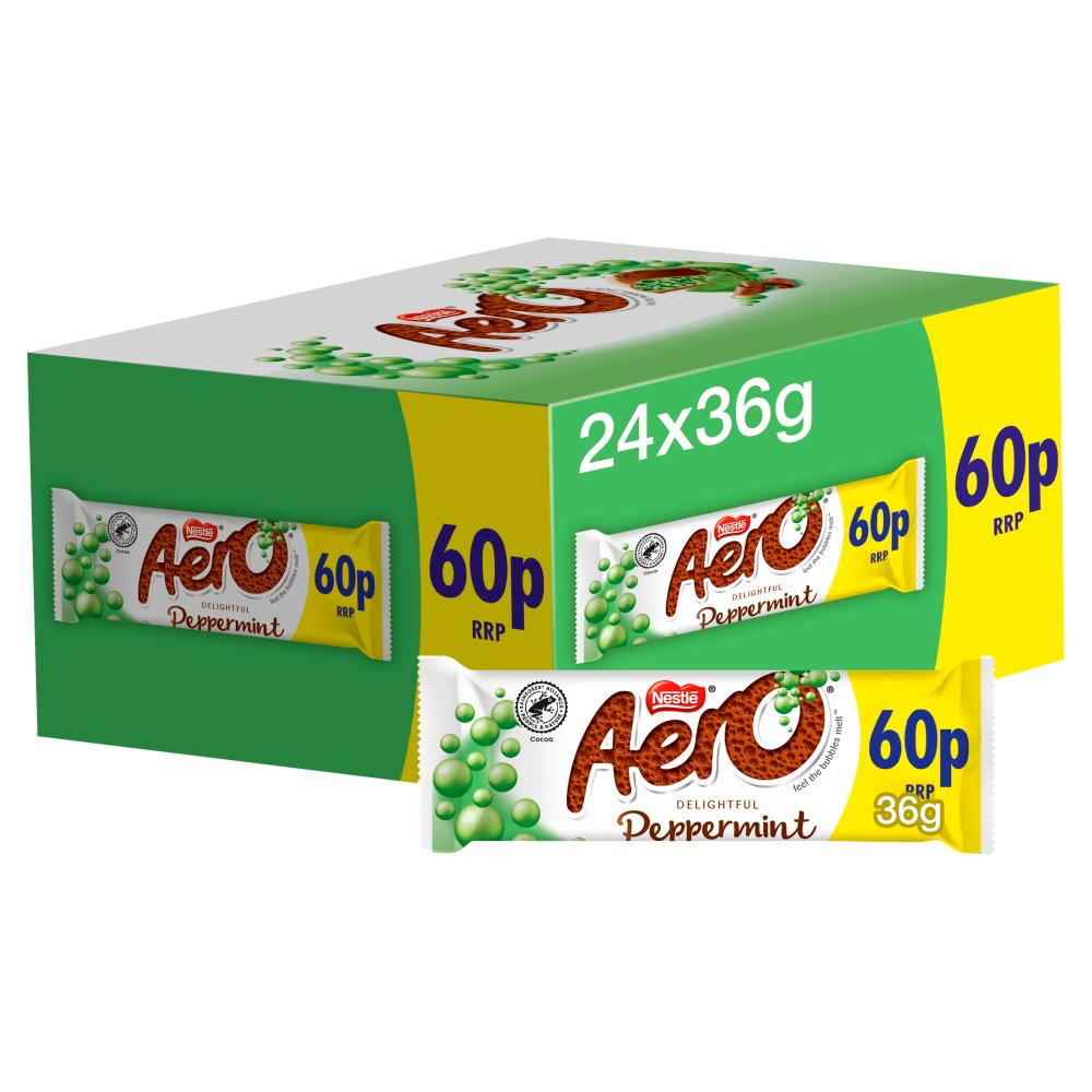 Aero Bubbly Peppermint Mint Chocolate Bar 36g PMP 60p
