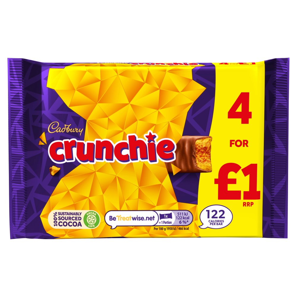 Cadbury Crunchie £1 Chocolate Bar 4 Pack 104.4g