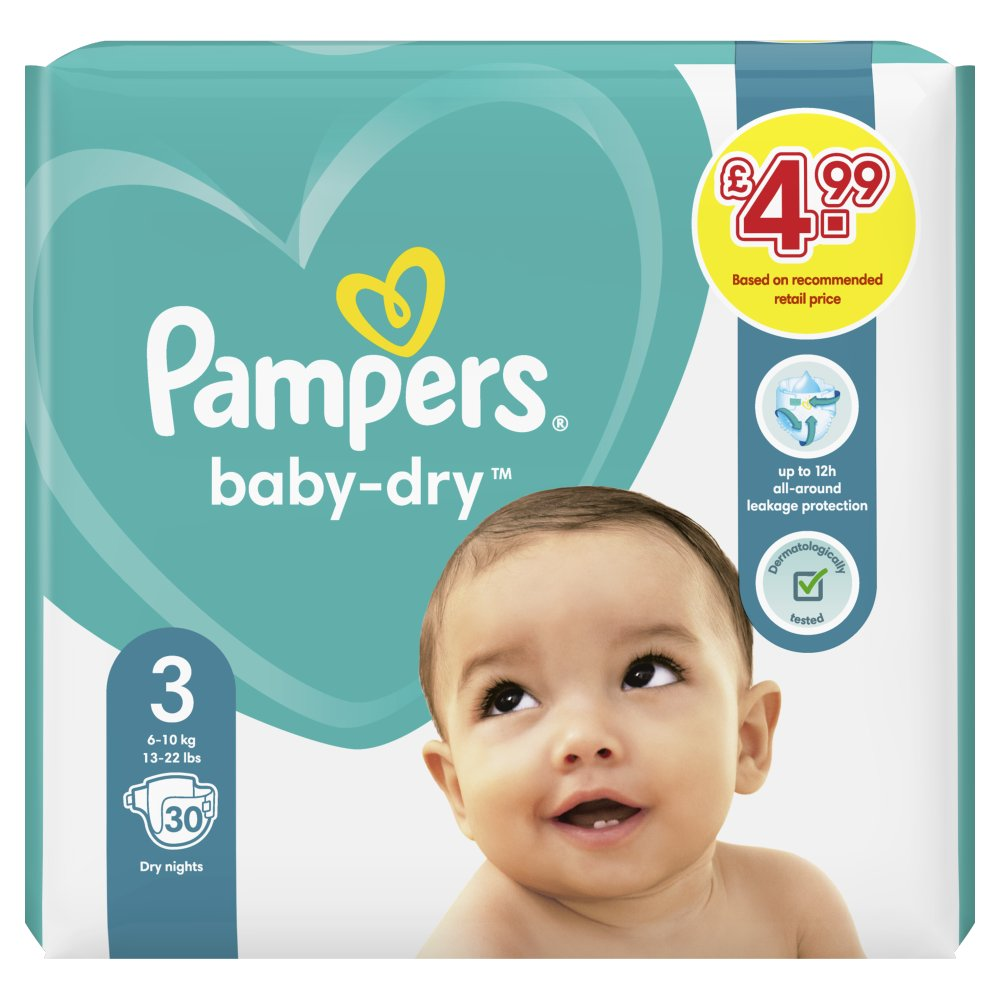Pampers Baby-Dry Size 3, 30 Nappies, 6-10kg, Carry Pack