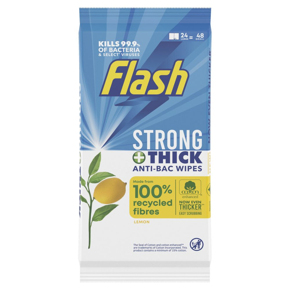 Flash Strong & Thick All Purpose Wipes Made Of 100% Recycled Fibres Lemon AB 24 Count