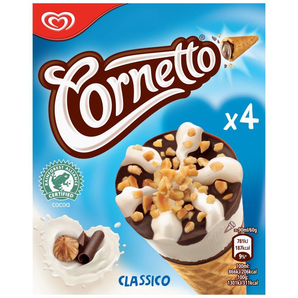 Cornetto Classico Ice cream cone 4 x 90ml