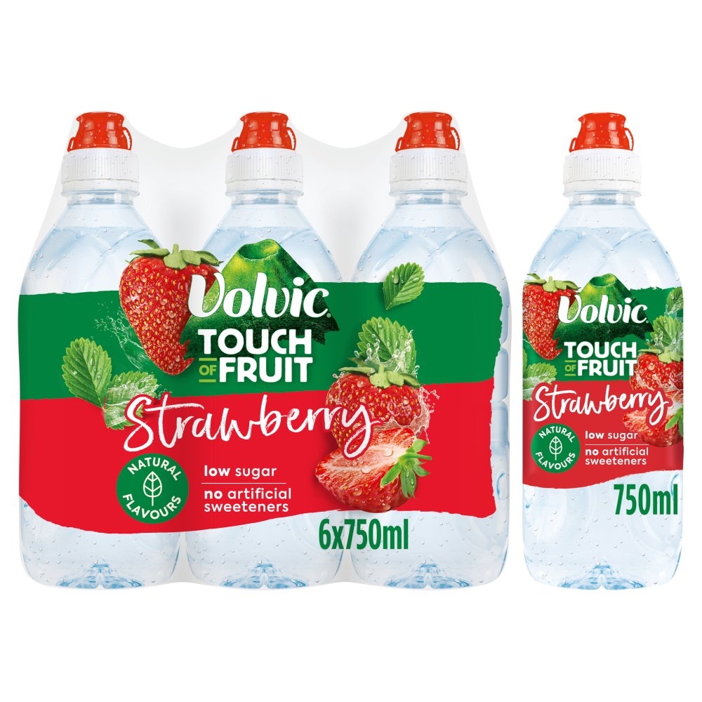Volvic Touch of Fruit Low Sugar Strawberry Natural Flavoured Water 6 x 750ml