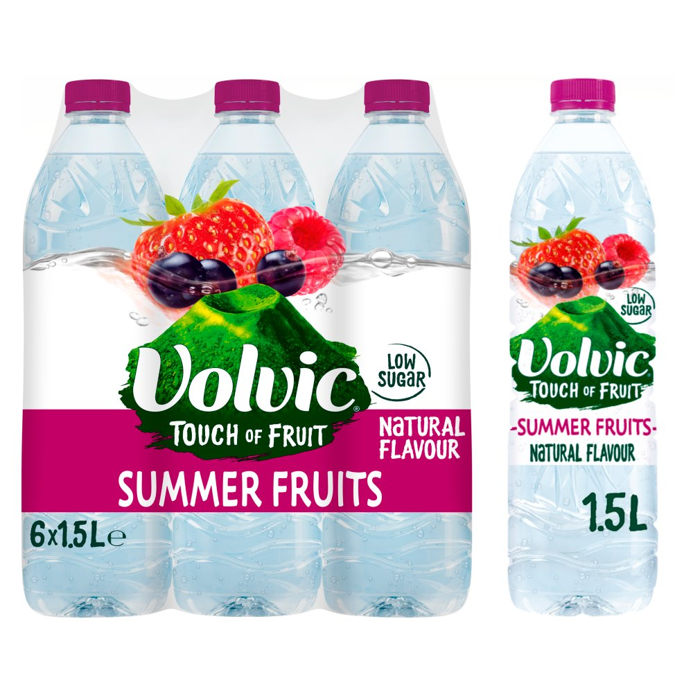 Volvic Touch of Fruit Low Sugar Summer Fruits Natural Flavoured Water 6 x 1.5L