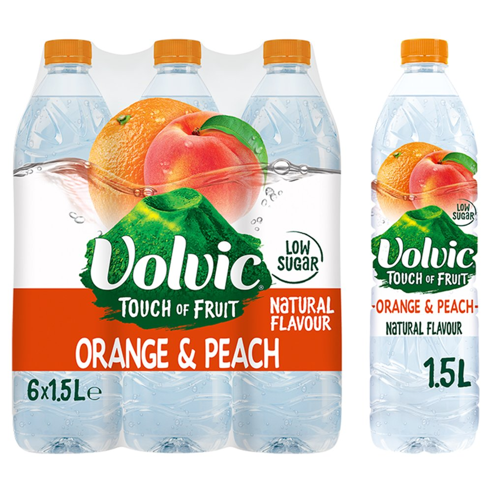Volvic Touch of Fruit Low Sugar Orange & Peach Natural Flavoured Water 6 x 1.5L