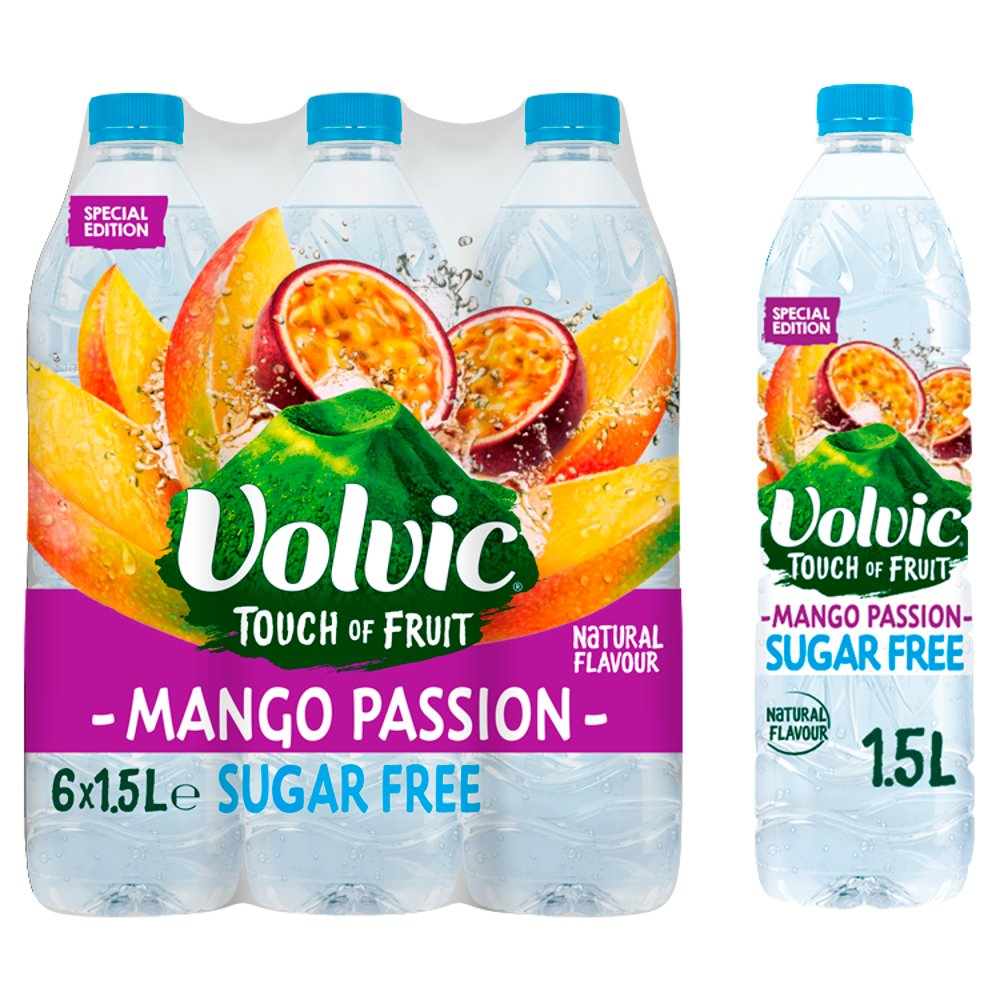 Volvic Touch of Fruit Sugar Free Special Edition Mango Passion Natural Flavoured Water 6 x 1.5L
