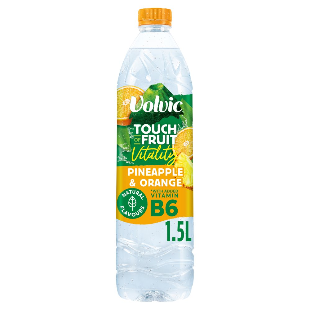 Volvic Touch of Fruit Low Sugar Pineapple & Orange Vitality Natural Flavoured Water 1.5L