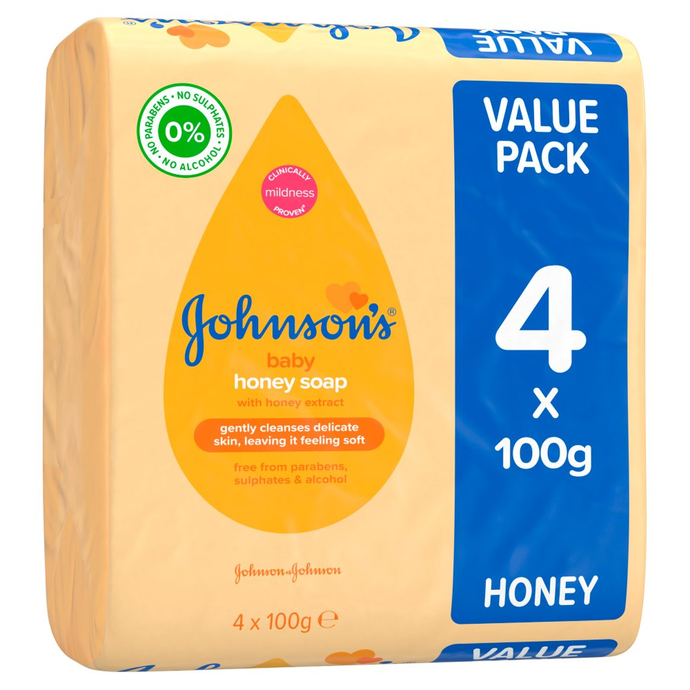 JOHNSON'S® Baby Honey Soap 4 x 100g :: BB Foodservice