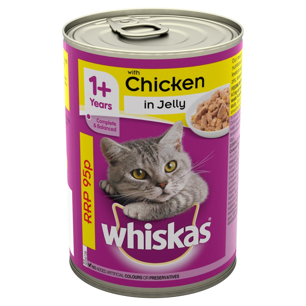 Whiskas Adult Wet Cat Food Tin Chicken in Jelly 390g PMP 95p