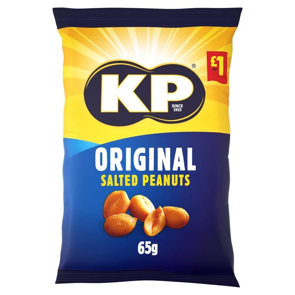 KP Original Salted Peanuts 65g, £1 PMP