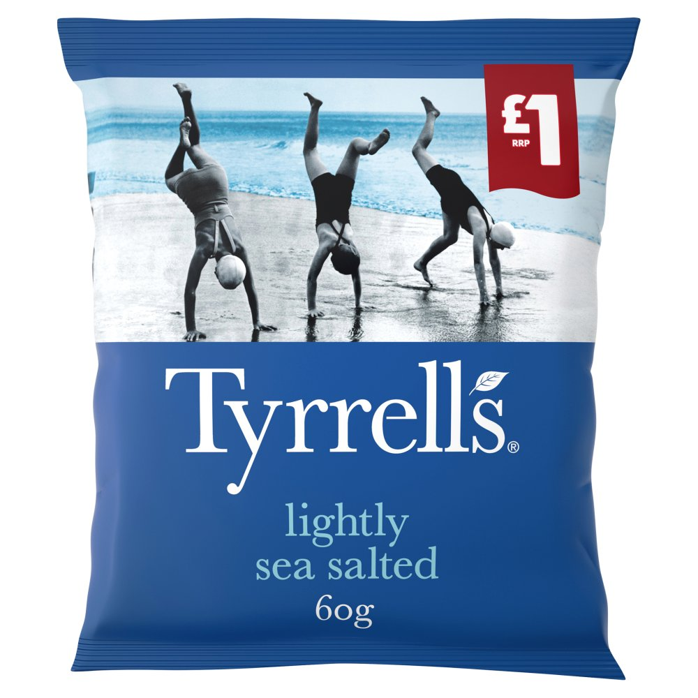 Tyrrells Lightly Sea Salted Crisps 60g £1 PMP