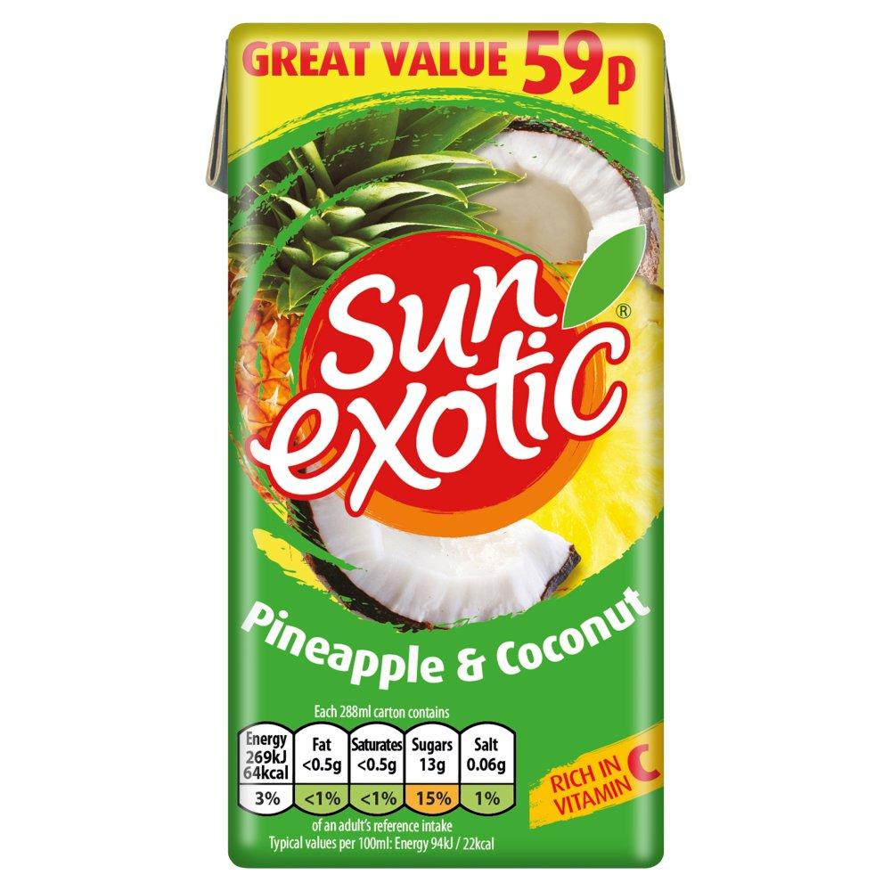 Sun Exotic Pineapple & Coconut Still Juice 288ml, PMP 59p