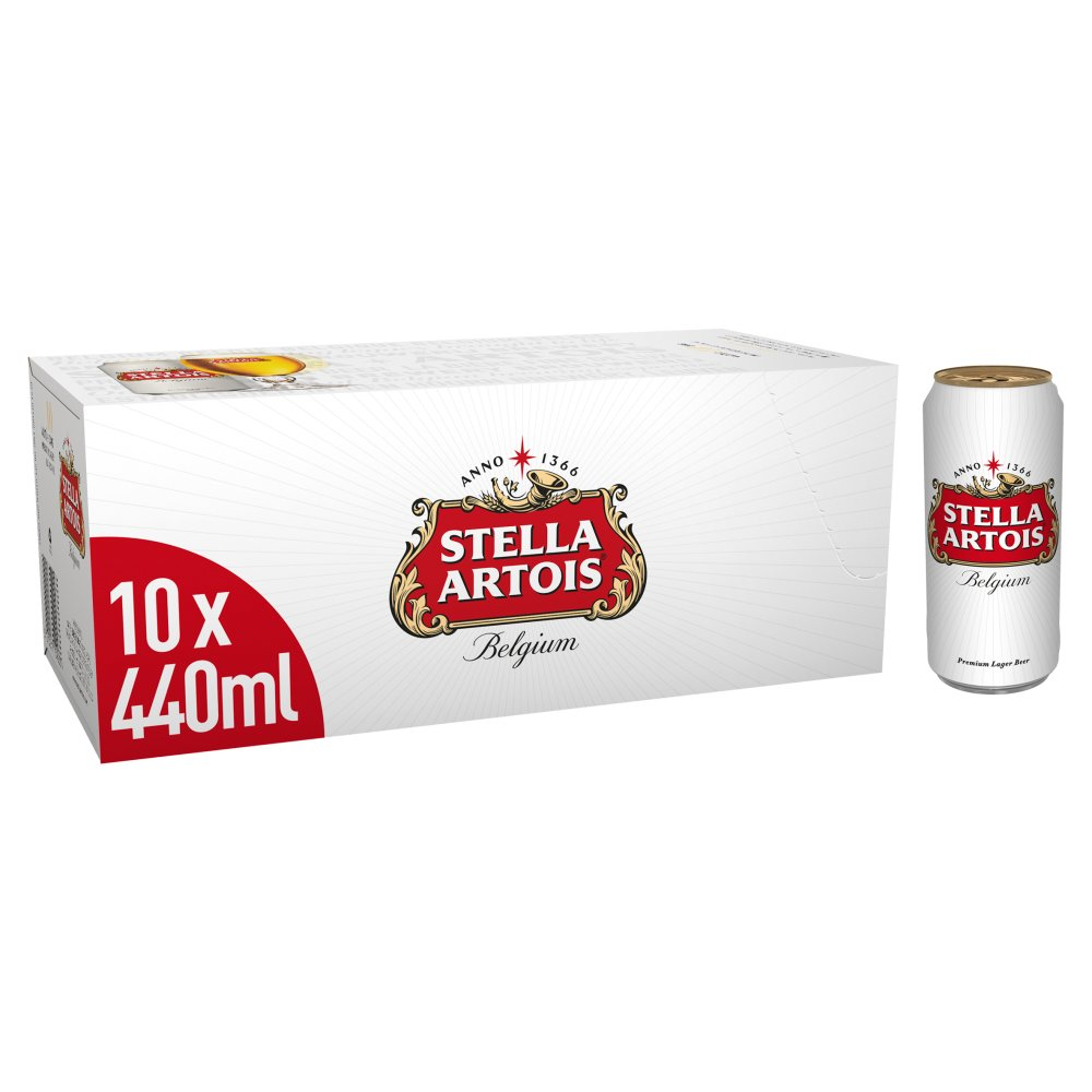 Stella Artois Lager Beer Cans 10 x 440ml