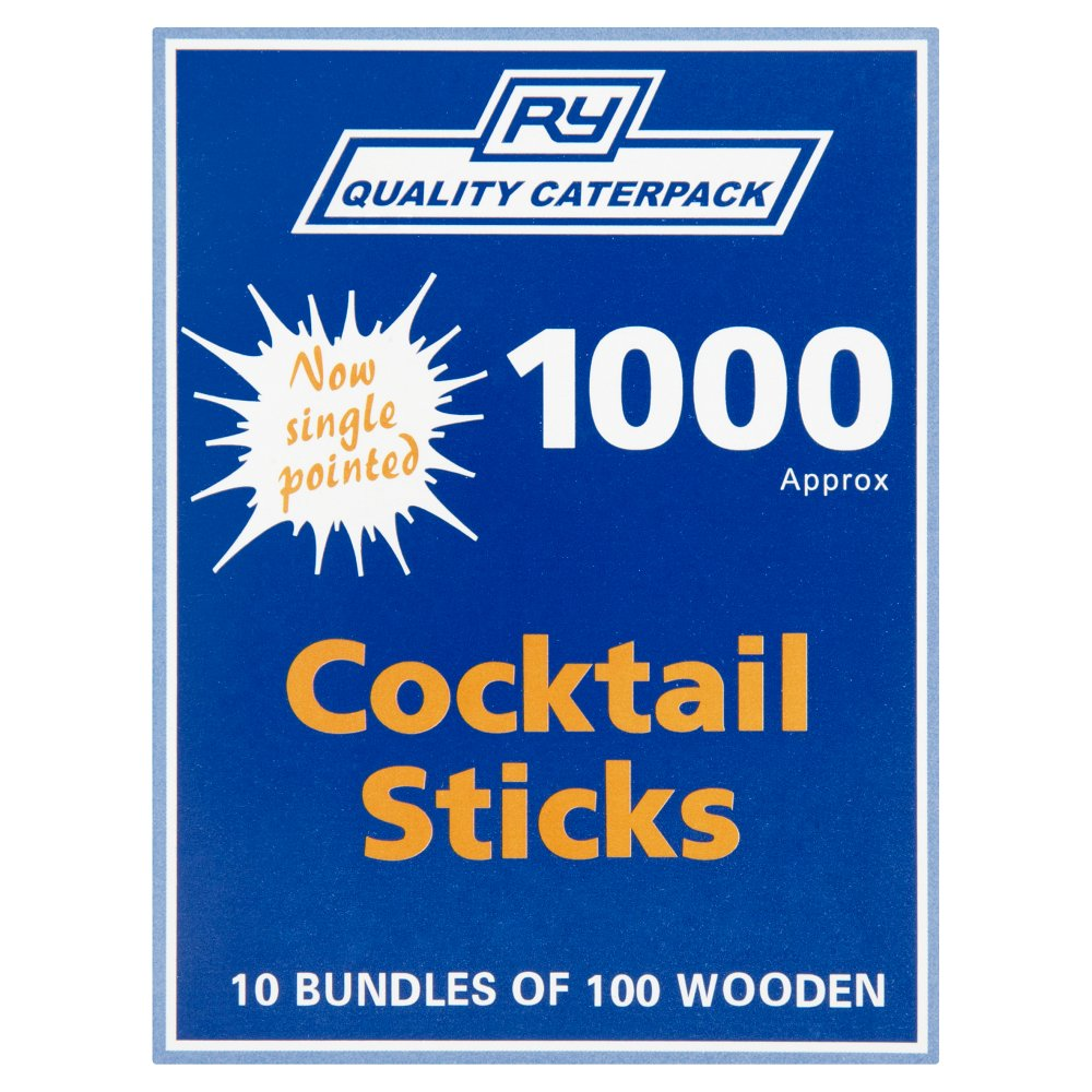 RY Quality Caterpack 10 Bundles of 100 Wooden Cocktail Sticks