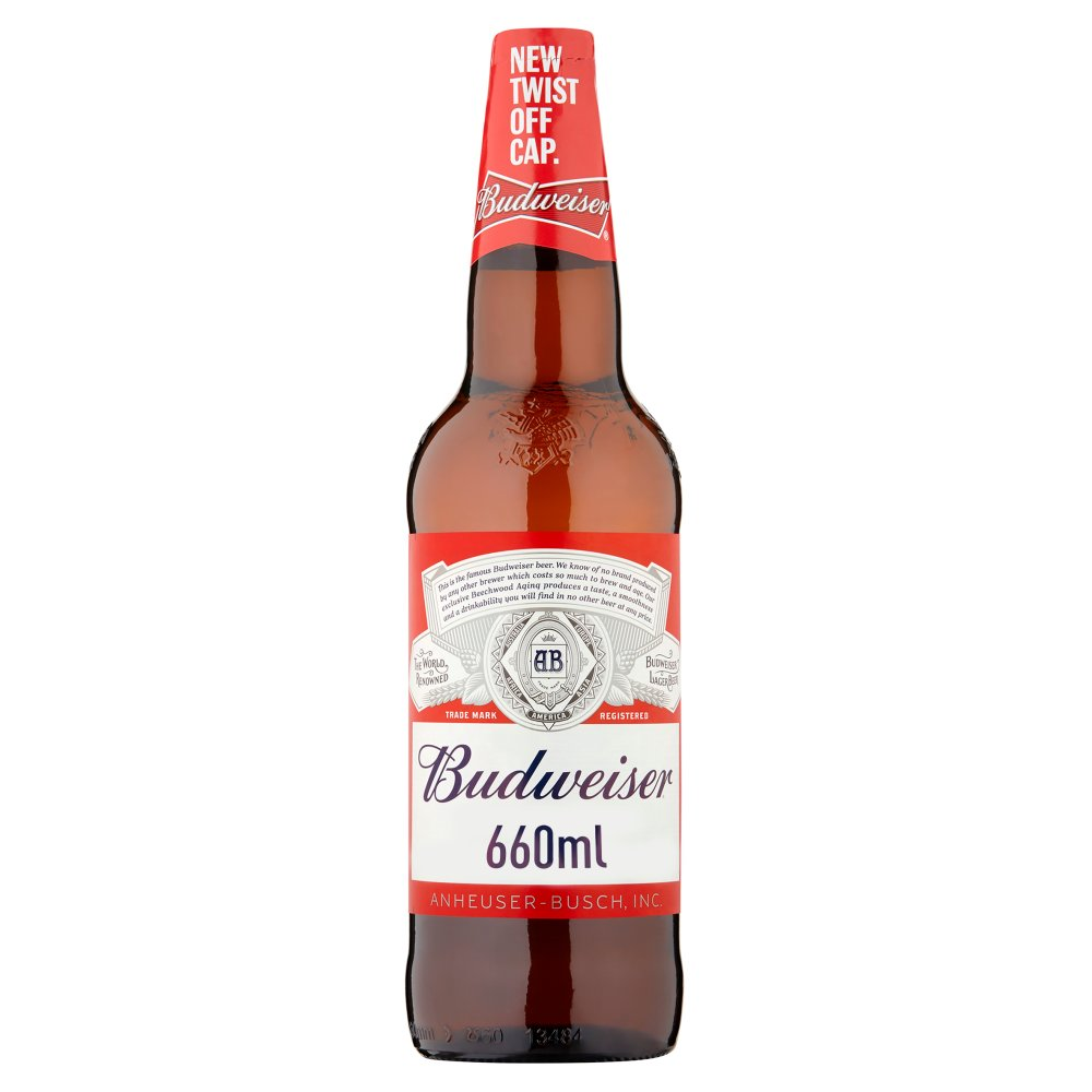 Budweiser Lager Beer Bottle 660ml