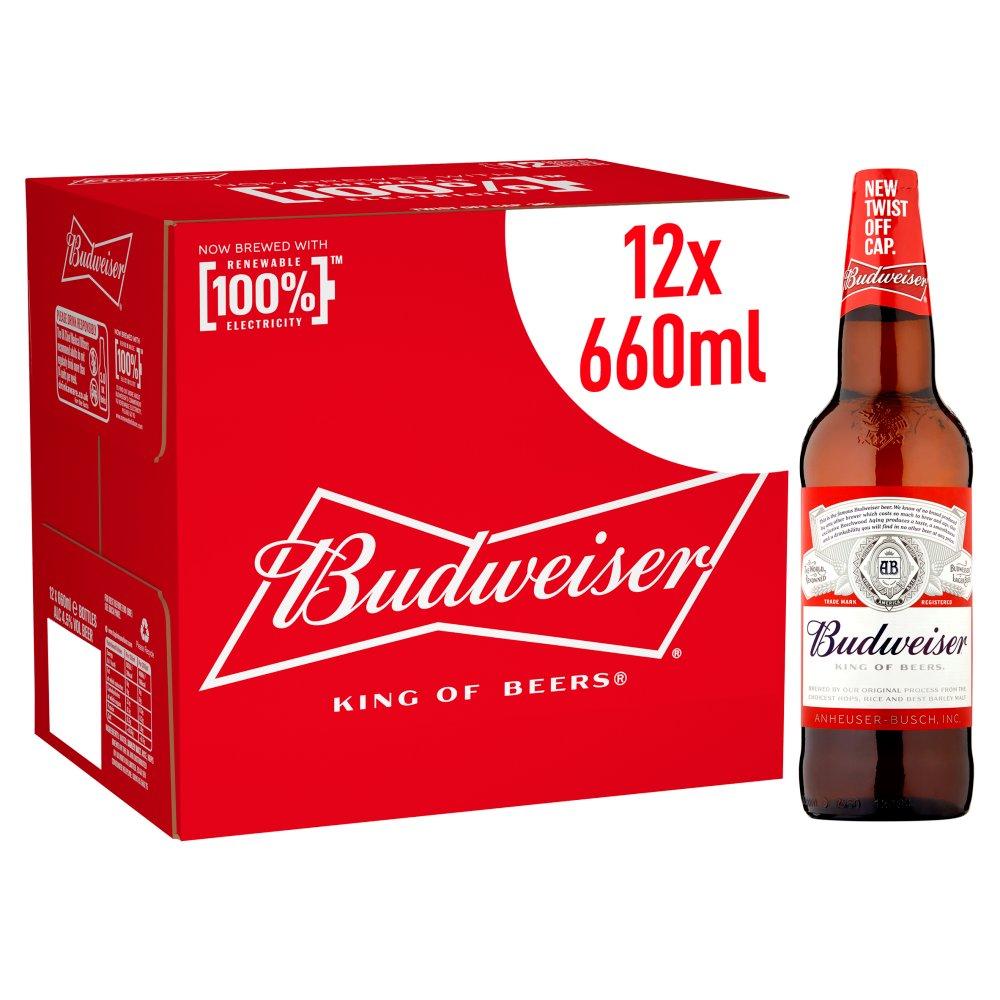 Budweiser Lager Beer Bottles 12 x 660ml