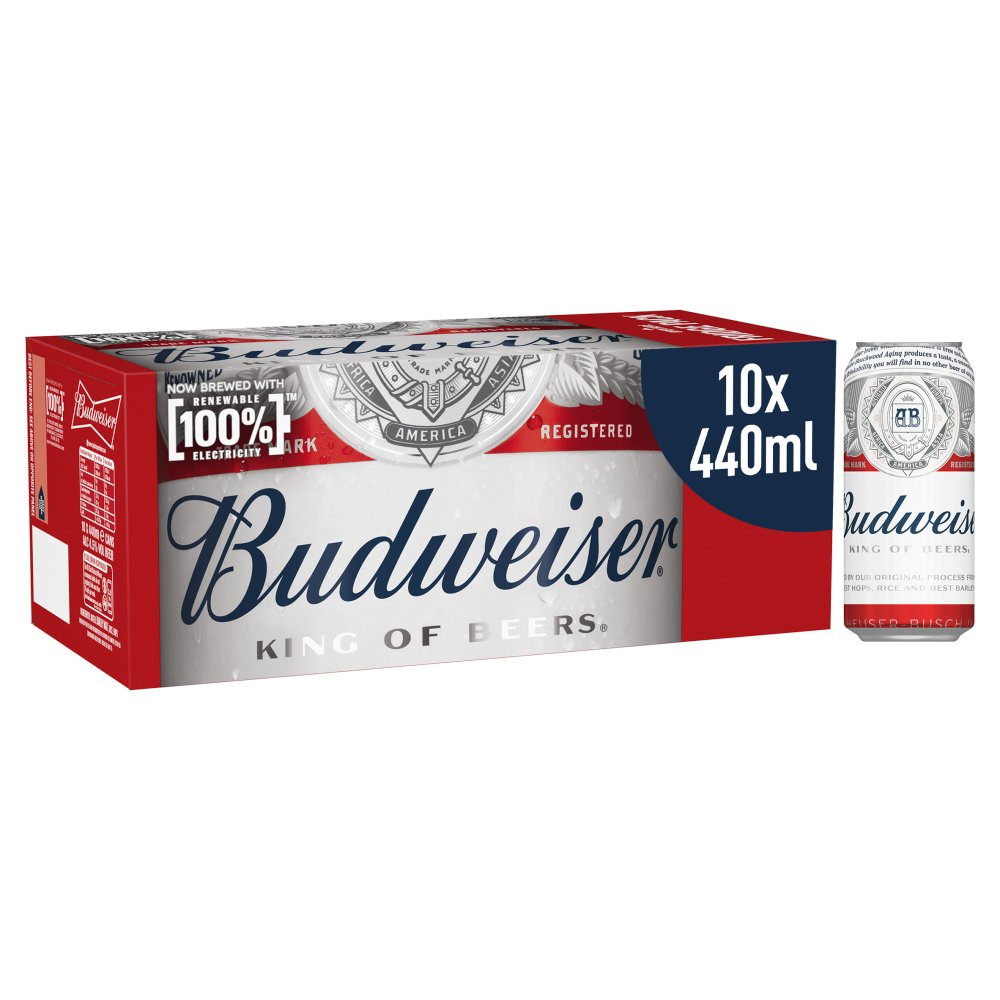 Budweiser Lager Beer Cans 10 x 440ml