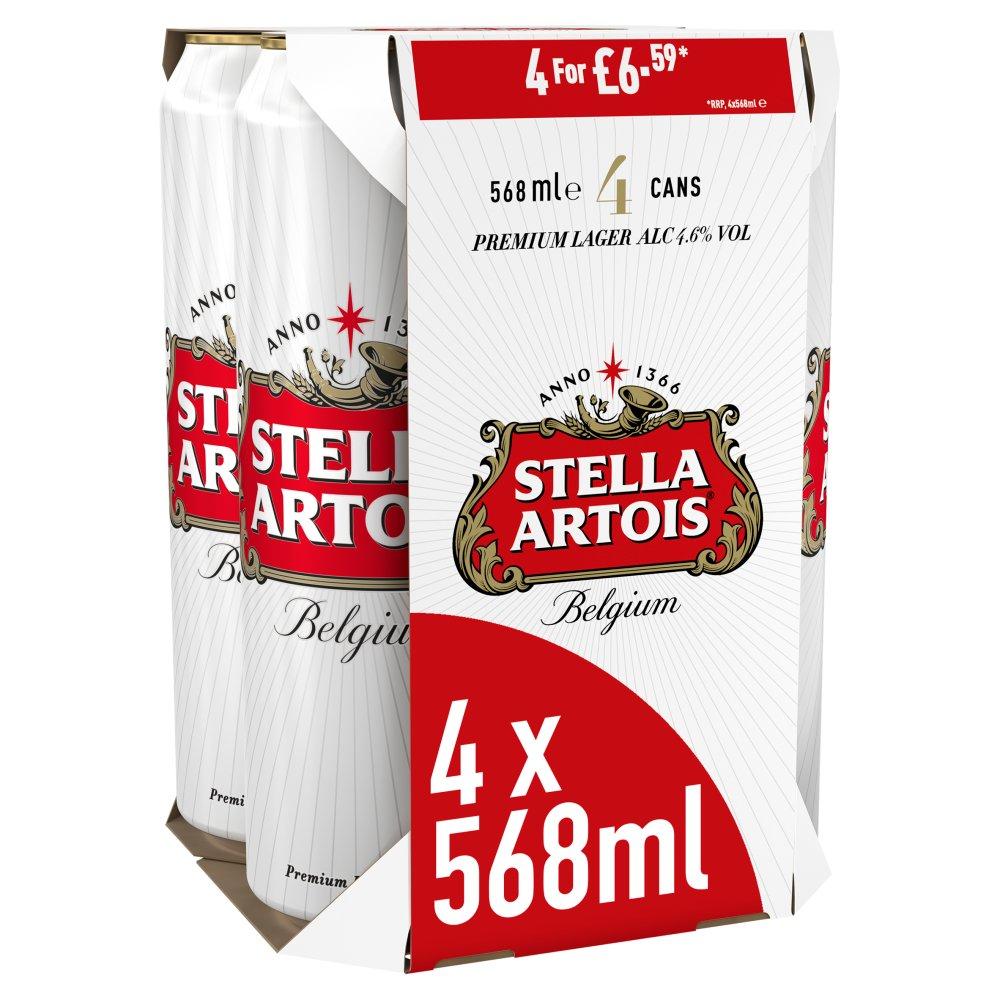Stella Artois Belgium Premium Lager Beer Cans 4 x 568ml PMP