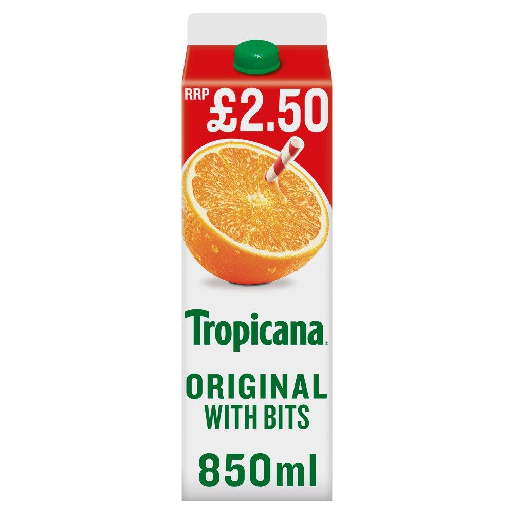 Tropicana Original Orange Juice with Bits £2.50 RRP PMP 850ml