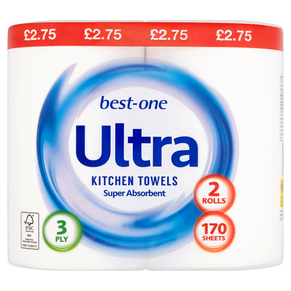 Best-One Ultra Kitchen Towels 3 Ply 170 Sheets 2 Rolls