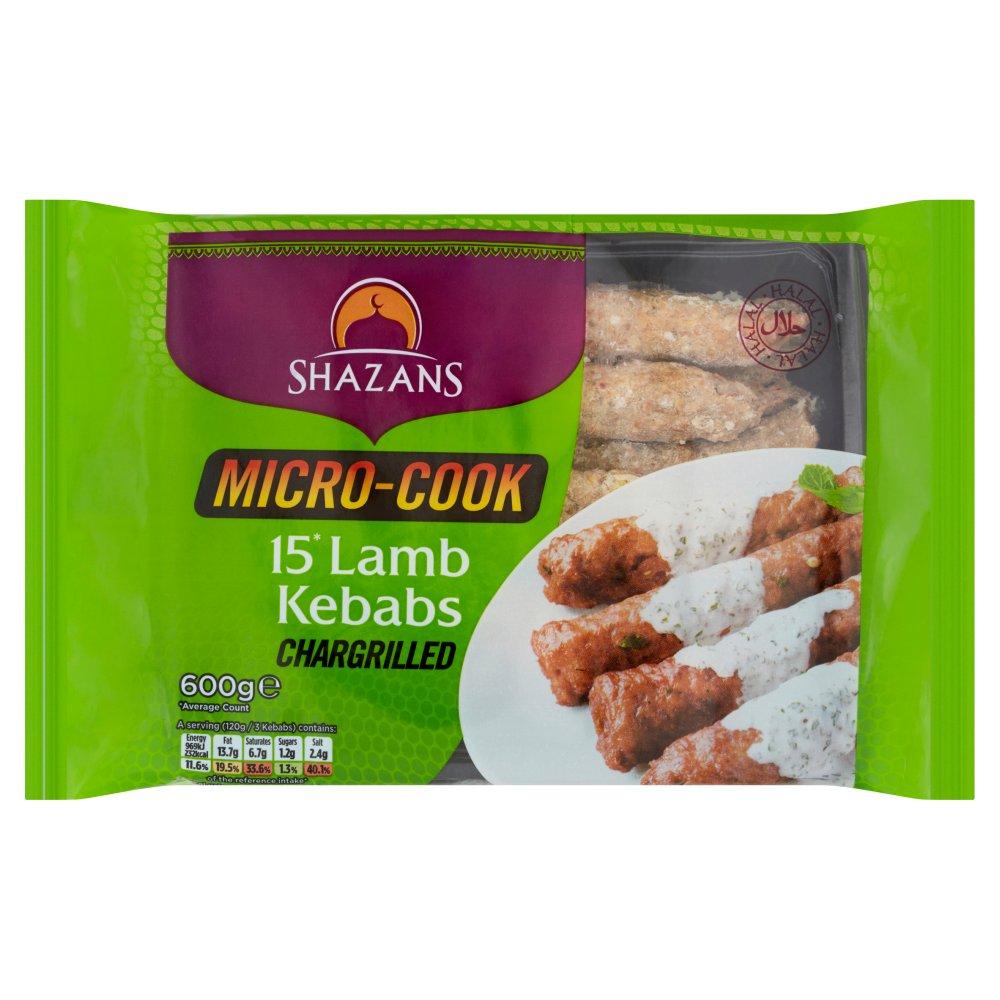Shazans Micro-Cook 15 Lamb Kebabs Chargrilled 600g