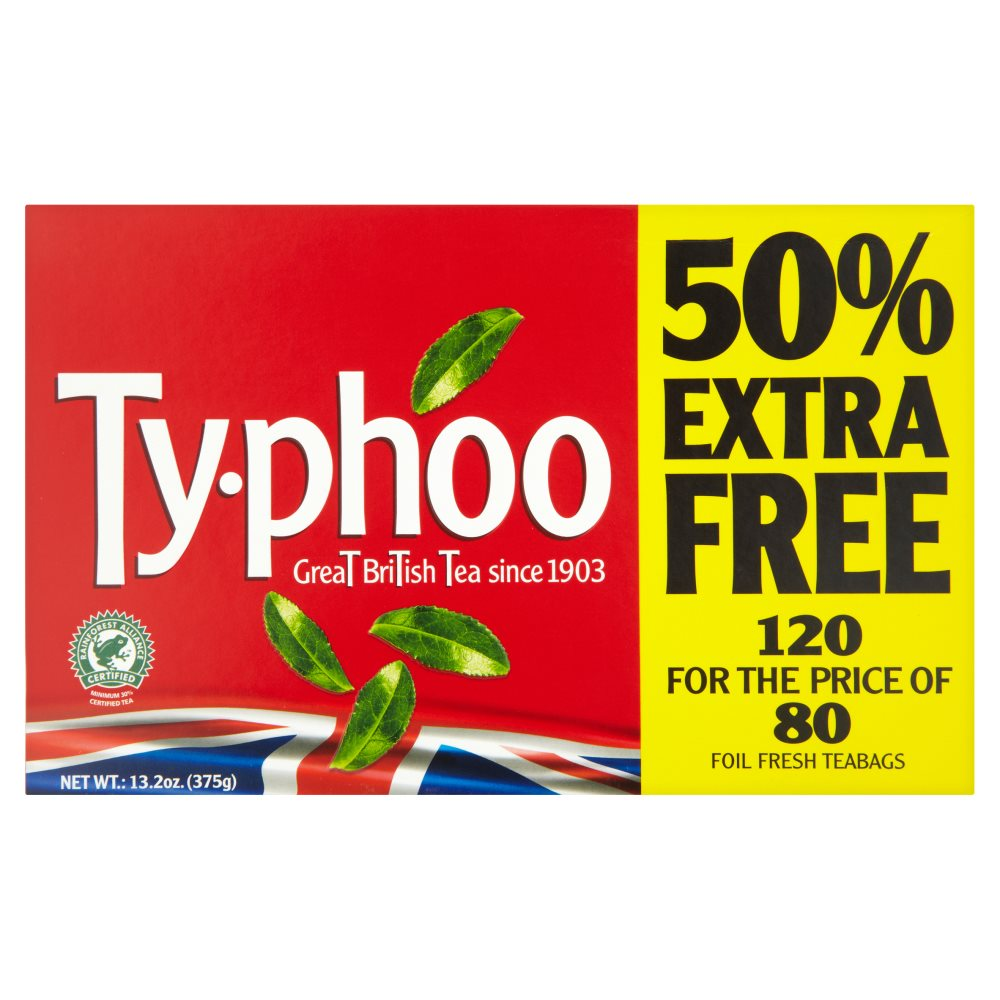 Typhoo Tea Bags 50percent Extra PM £1.95