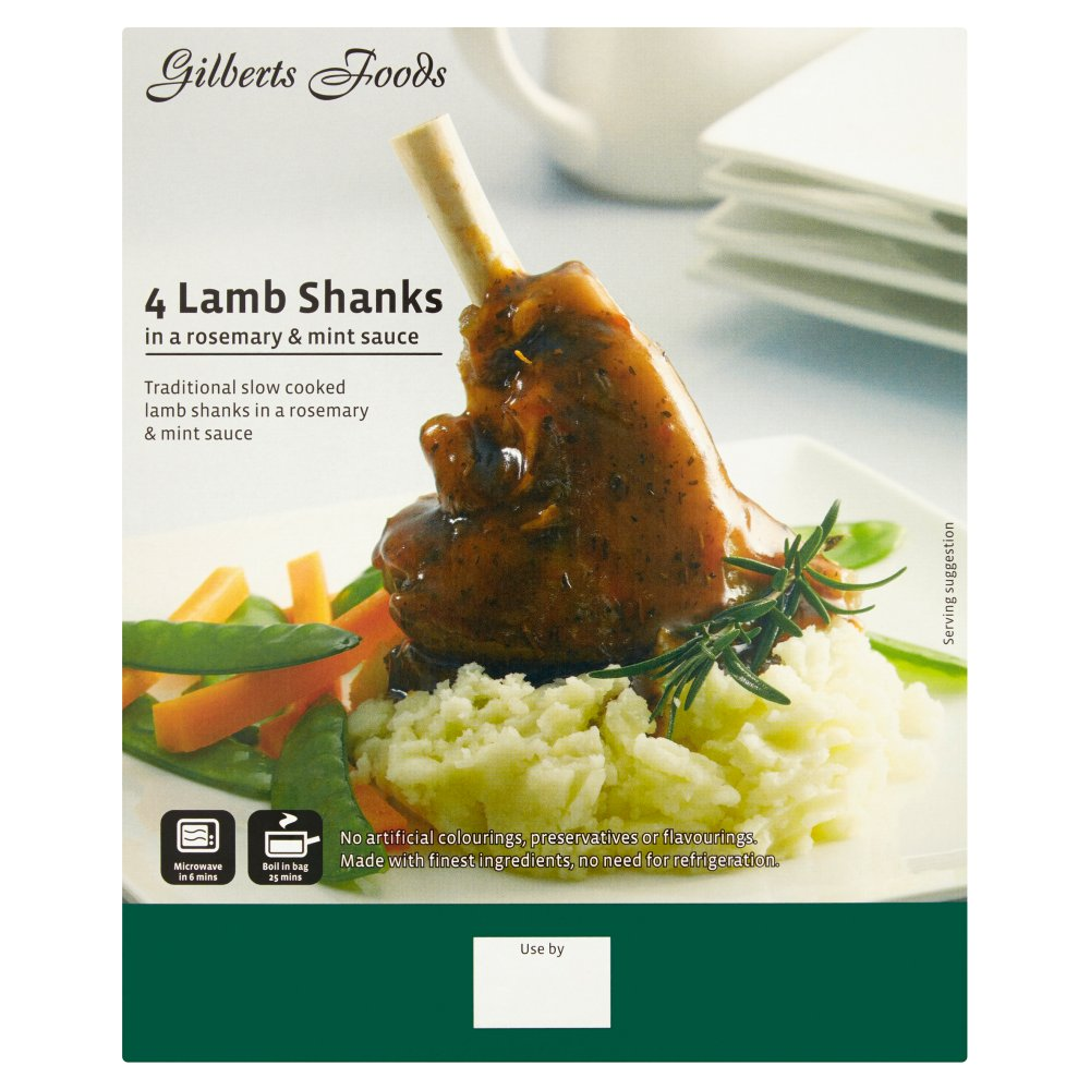 Gilberts Foods Lamb Shanks in a Rosemary & Mint Sauce 4 x 400g