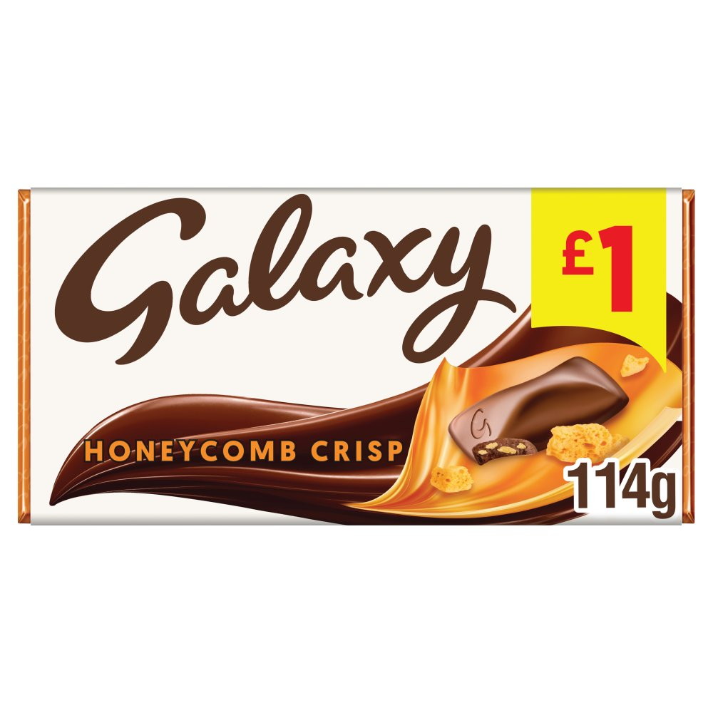 Galaxy Honeycomb Crisp Chocolate £1 PMP Bar 114g