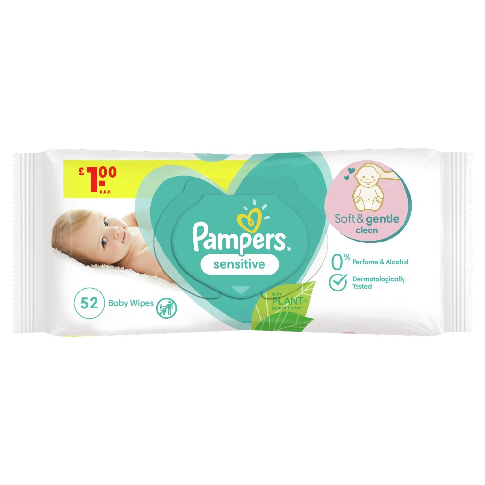 Pampers Sensitive Baby Wipes 1 Pack = 52 Wipes