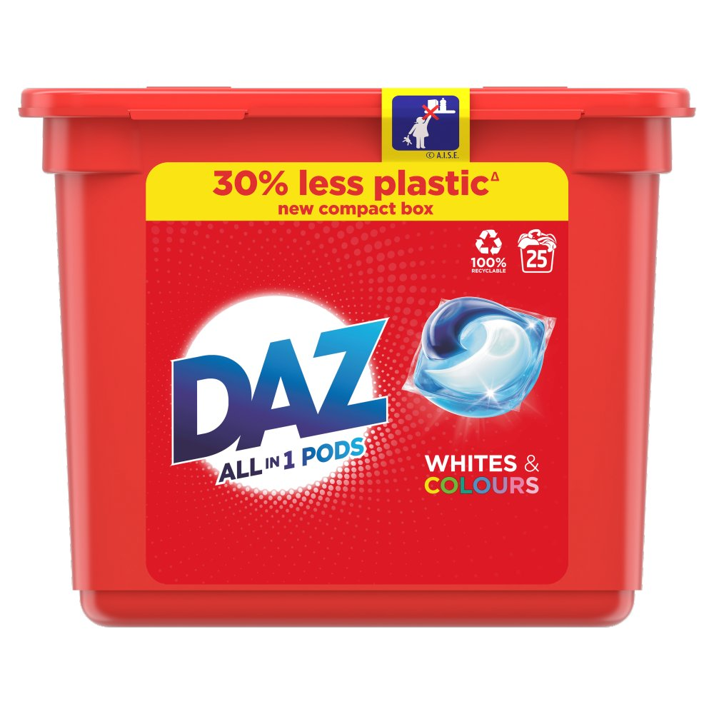 Daz ALL in 1 PODs Washing Liquid Capsules Whites & Colours 25 Washes