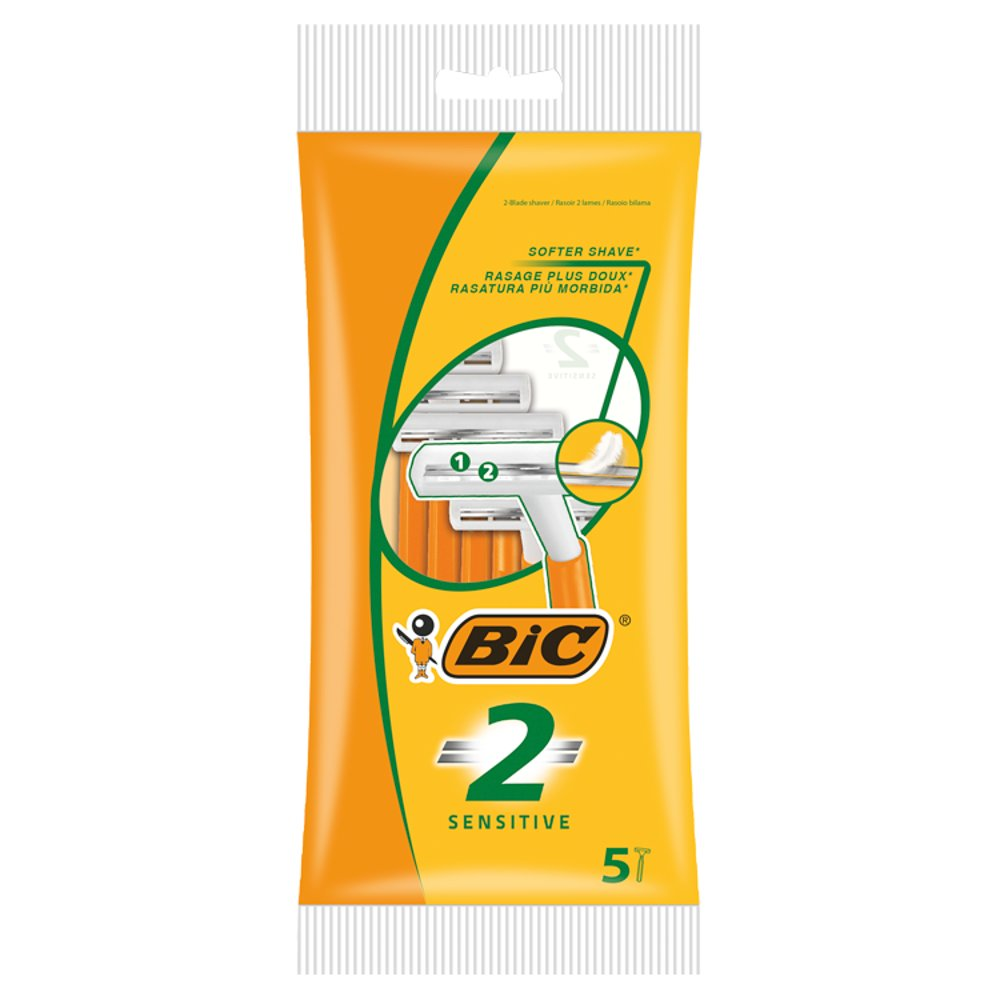 BIC 2 Sensitive Disposable Men's Razors - Pack of 5