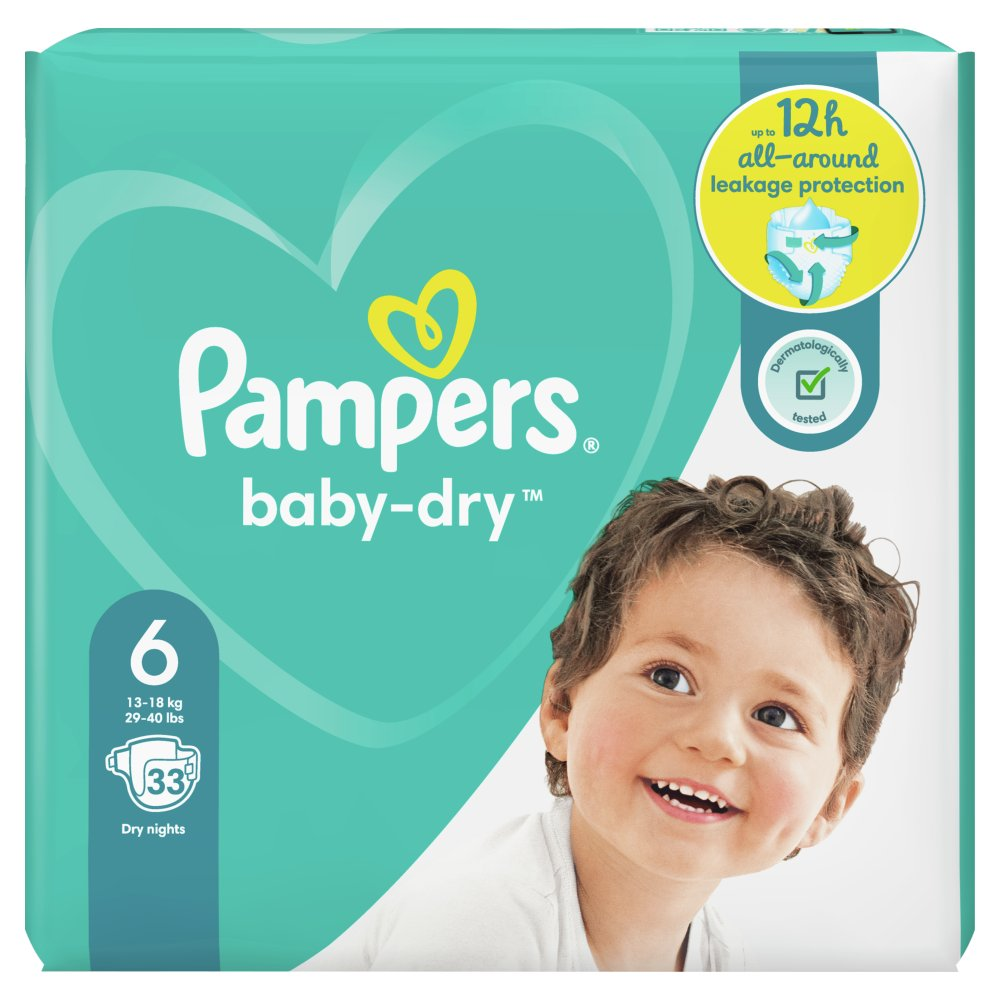 Pampers Baby-Dry Size 6, 33 Nappies, 13-18kg, Essential Pack