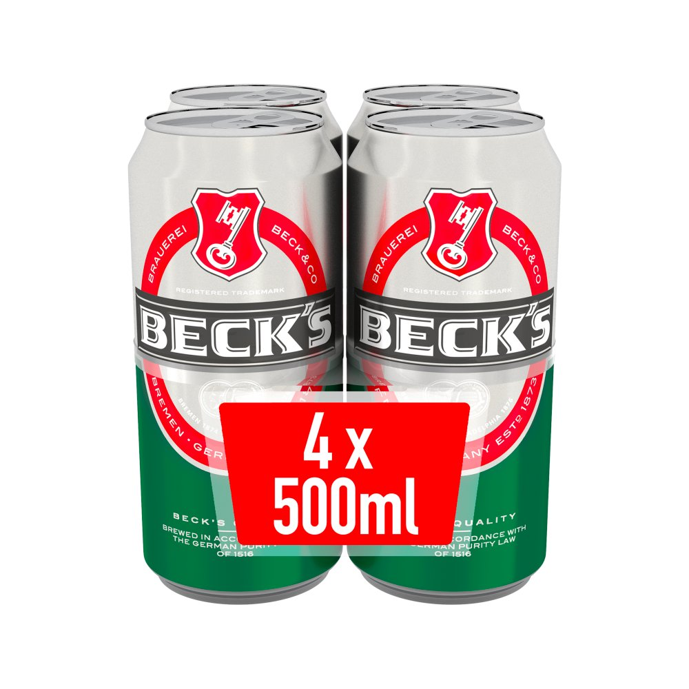 Beck's German Pilsner Beer Cans 4 x 500ml
