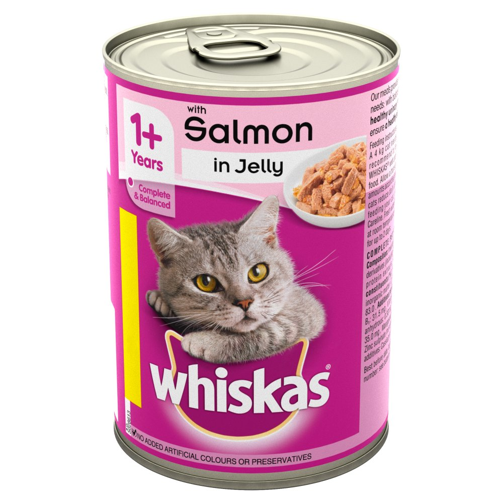 Whiskas Adult 1+ Wet Cat Food Tin with Salmon in Jelly 390g (PMP 90p)