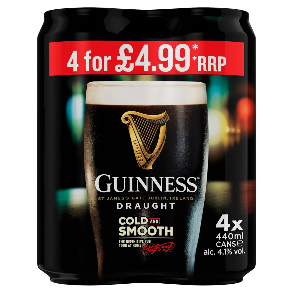 Guinness Draught Stout Beer 4 x 440ml Can