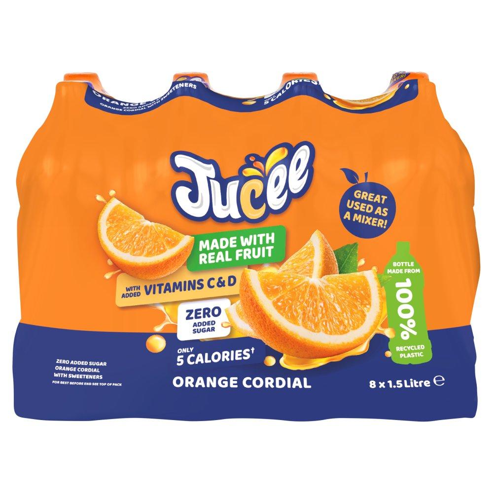 Jucee No Added Sugar Orange Cordial 8 x 1.5 Ltr