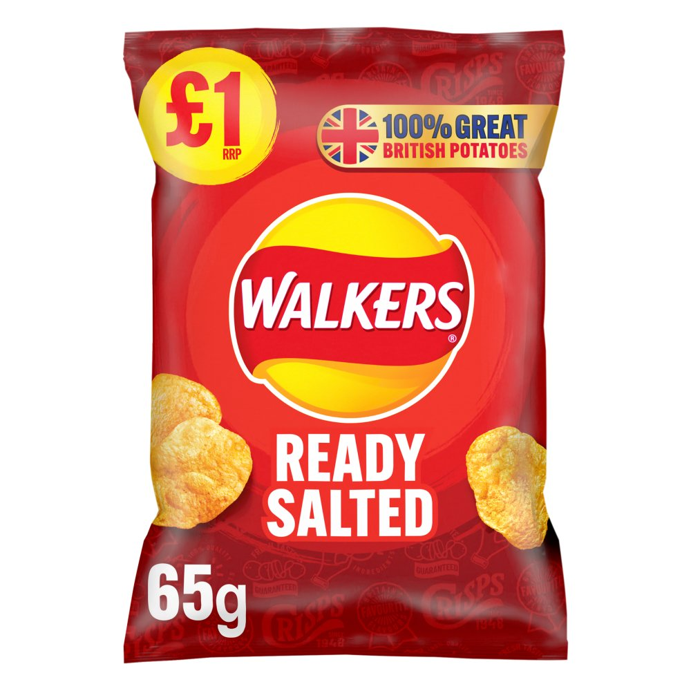 Walkers Ready Salted Crisps £1 RRP PMP 65g