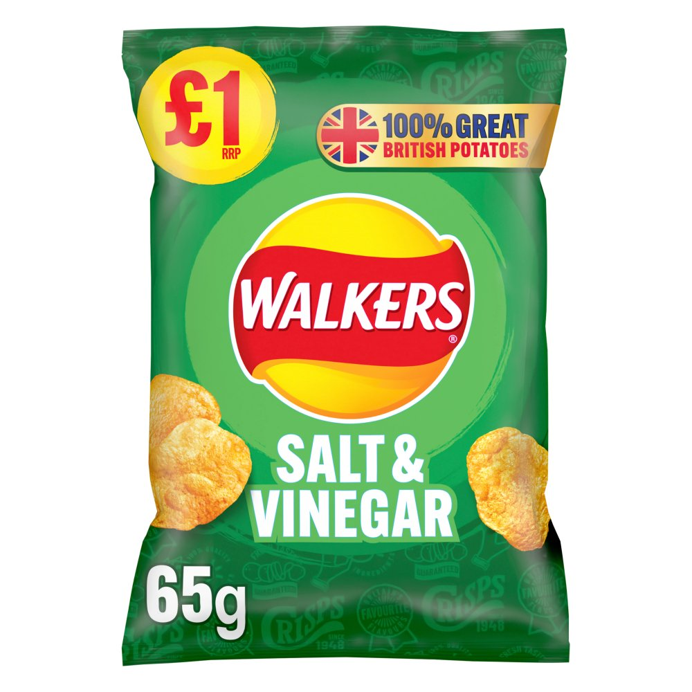 Walkers Salt & Vinegar Crisps £1 RRP PMP 65g