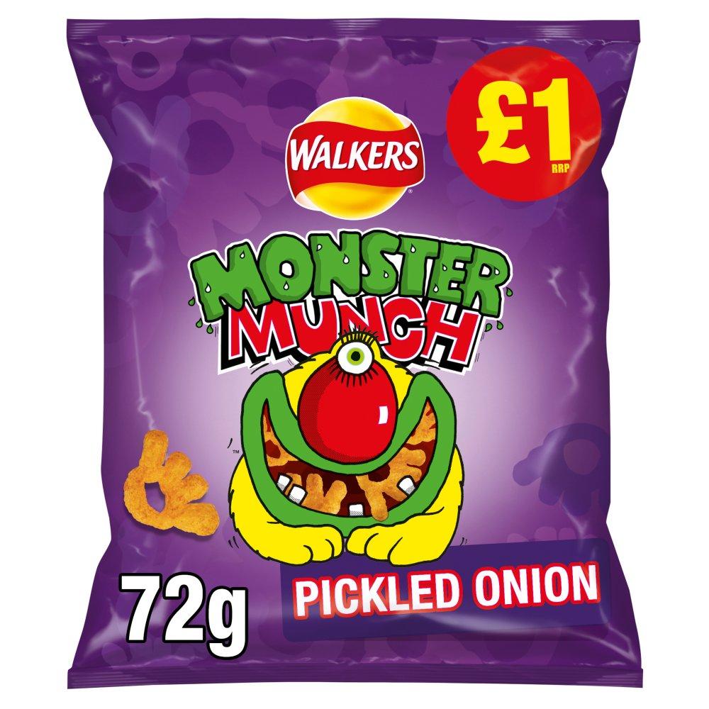 Walkers Monster Munch Pickled Onion Snacks £1 RRP PMP 72g