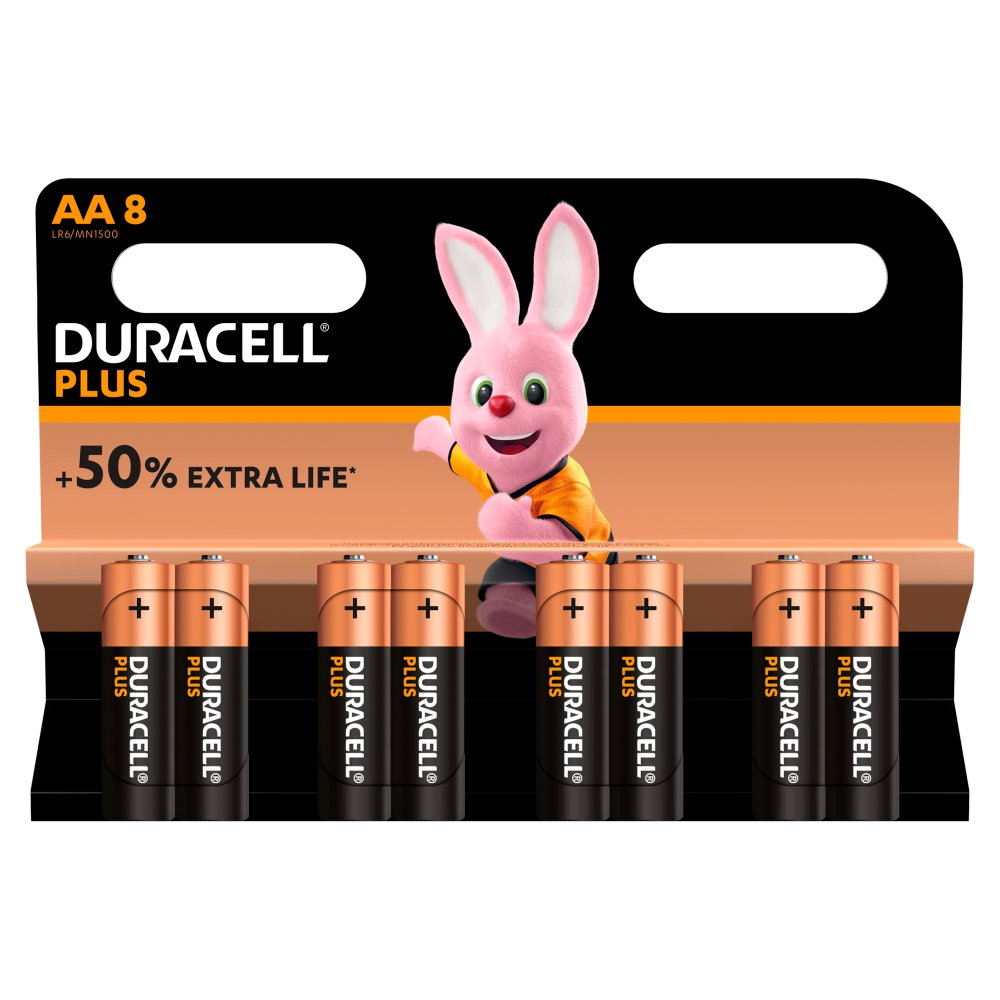 Duracell Plus AA Alkaline Batteries, Pack of 8